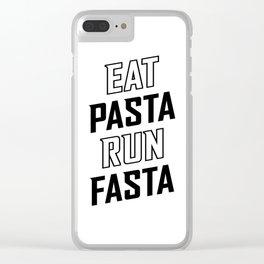 Eat Pasta Run Fasta v2 Clear iPhone Case