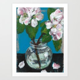 Painting of apple blossom flowers in glass jar Art Print