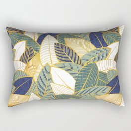 Leaf wall // navy blue pine and sage green leaves golden lines Rectangular Pillow