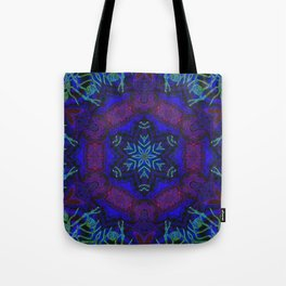 Bioluminescent Tribal Lotus Tote Bag