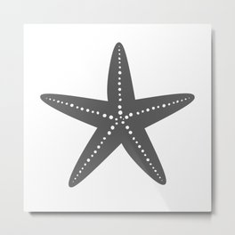 Starfish (Grey & White) Metal Print