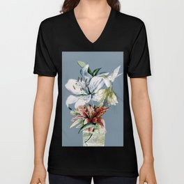 Hummingbird with Flowers Unisex V-Neck