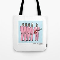 coasters Tote Bags featuring Please use a coaster by Masonic Comics