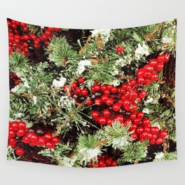 Frosted Christmas Tree with Holly Wall Tapestry