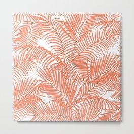 Modern blush coral simple tropical  palm tree pattern Metal Print