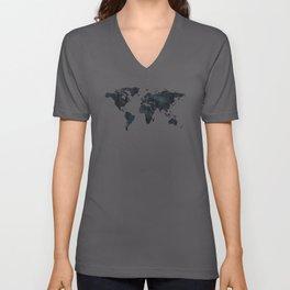 World Map in Black and White Ink on Paper Unisex V-Neck