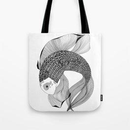 black and white koi fish Tote Bag