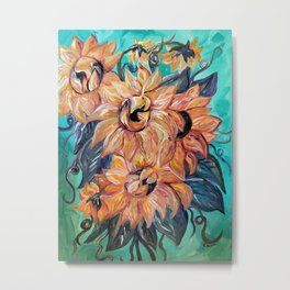 Sunflowers on a Teal and Blue Background Metal Print