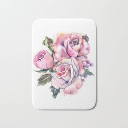 watercolor roses. bridal bouquet Bath Mat