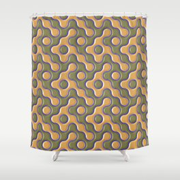3D ORANGE AND BLUE WAVES Shower Curtain