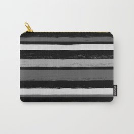 Stripes - Black and White Carry-All Pouch