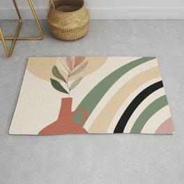 🤍 Abstract Art, Rainbow and Sun, Geometric Art Rug