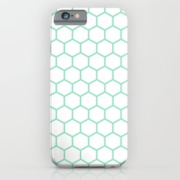 Honeycomb (Mint & White Pattern) iPhone Case