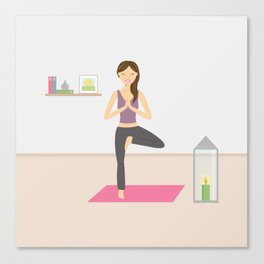 Yoga Girl In Tree Pose Cartoon Illustration Canvas Print