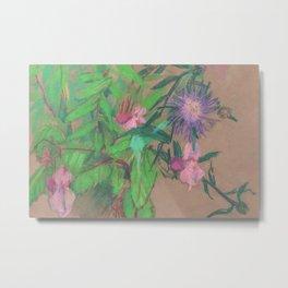 Thistle / Wildflowers, Pastel Sketch Metal Print