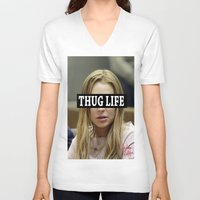 """lindsay lohan V-neck T-shirts featuring Lindsay Lohan """"Thug Life"""" **Signed** by ActuallyHappy"""