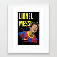 messi Framed Art Prints featuring Messi  by Abhikreationz