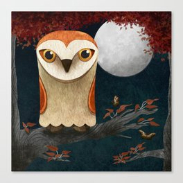 Deep in the Night, Owl Eyes Bright Canvas Print