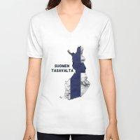 finland V-neck T-shirts featuring Finland / Suomen Tasavalta by Dandy Octopus