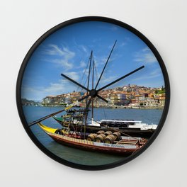 Porto barges, Portugal Wall Clock