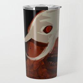 Viking caricature close up face bearded man with white helmet screaming illustration painting Travel Mug