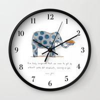 polka Wall Clocks featuring polka dot elephants serving us pie by Marc Johns