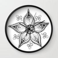 henna Wall Clocks featuring Henna Flower by Ava Elise