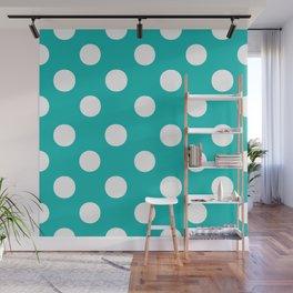 Polka Dots (White/Eggshell Blue) Wall Mural