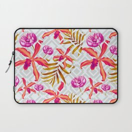 Bold & Bright Colored Tropical Flowers on Silver Trellis Laptop Sleeve