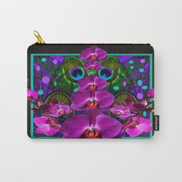 Beautiful Black-Green Purple Orchids Pattern Art Carry-All Pouch