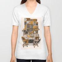 lab V-neck T-shirts featuring Radio Lab by Bony Fingers