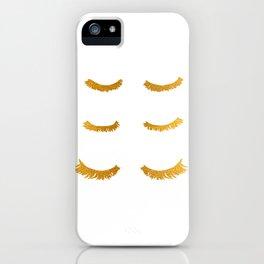 Gold Eyelashes Illustration Art iPhone Case