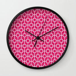 Raspberry Red Lattice Pattern Wall Clock