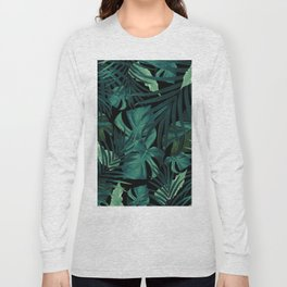 Tropical Jungle Night Leaves Pattern #1 #tropical #decor #art #society6 Long Sleeve T-shirt