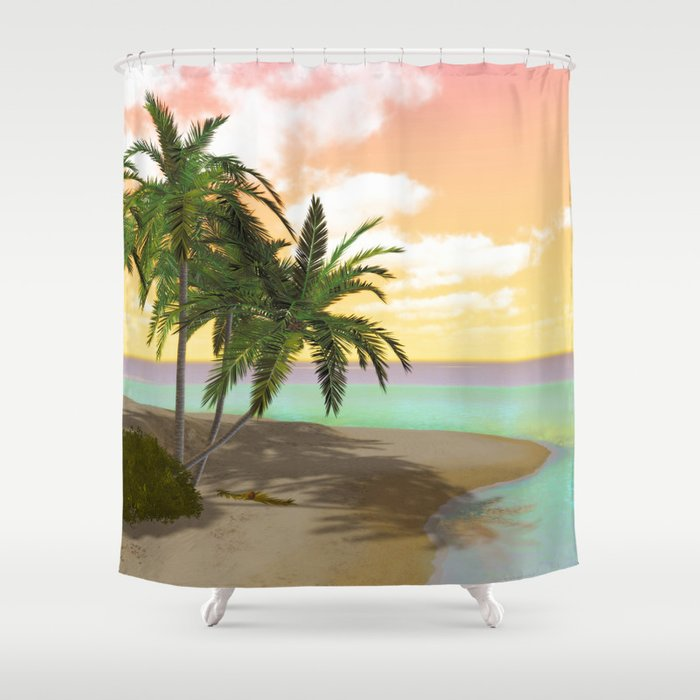 Dreamy Desert Island Shower Curtain By Simonegatterwe