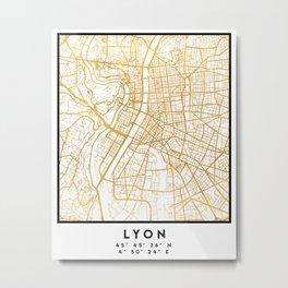 LYON FRANCE CITY STREET MAP ART Metal Print