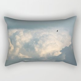 Seagull flies in a background with foamy clouds Rectangular Pillow
