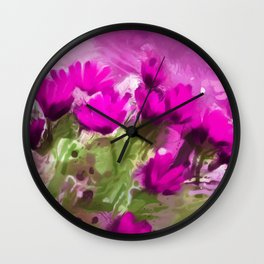 African Daisies With Wall Purple Watercolor Wall Clock