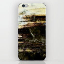 Brushed marble - black and golden iPhone Skin
