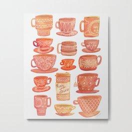 Pink Teacups and Mugs Metal Print
