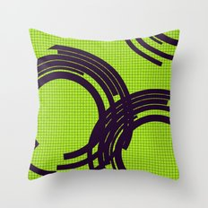 Black open rings on green Throw Pillow