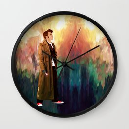 The 10th Doctor who with abstract background iPhone 4 4s 5 5c 6, pillow case, mugs and tshirt Wall Clock