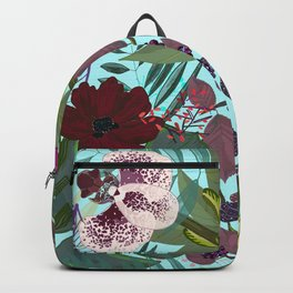 Orchid and Cosmos Flower Botanical Floral Backpack