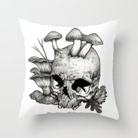 mushrooms Throw Pillows featuring Mushrooms by Arnaud Gomet