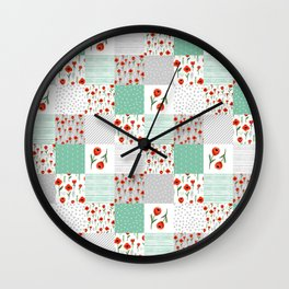 Poppies quilt pattern mint floral flowers patterned florals squares Wall Clock