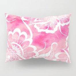 Modern boho pink watercolor white floral mandala  pattern Pillow Sham