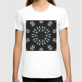 Green Red And White Kaleidoscope Design By Annie Zeno  T-shirt