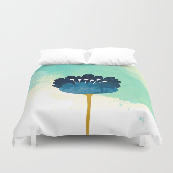 Acuarela Blue Flower Duvet Cover
