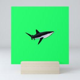 Great White Shark  on Acid Green Fluorescent Background Mini Art Print