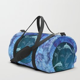 Funny dolphin with flowers Duffle Bag